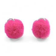 Pompom bedel met oog zilver 15mm Raspberry wine red