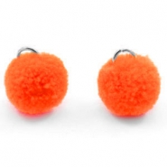 Pompom bedel met oog zilver 15mm Bright orange