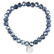 Top facet armbandjes Sisa 8x6mm (RVS bedel) Montana blue-pearl diamond coating