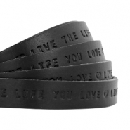 "Plat 10mm DQ leer met ""live the life you love"" print Nero black"
