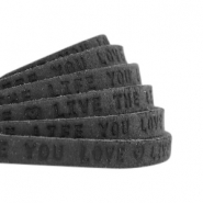 "Plat 5mm DQ leer met ""live the life you love"" print Vintage black"