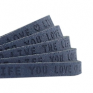 "Plat 5mm DQ leer met ""live the life you love"" print Dark denim blue"