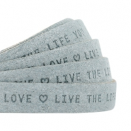 "Plat 10mm DQ leer met ""live the life you love"" print Grey"