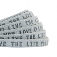 "Plat 5mm DQ leer met ""live the life you love"" print Grey"