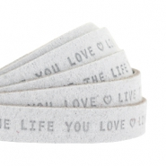 "Plat 10mm DQ leer met ""live the life you love"" print Light Grey"