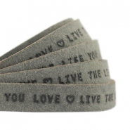 "Plat 10mm DQ leer met ""live the life you love"" print Dark olive green"