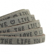 "Plat 5mm DQ leer met ""live the life you love"" print Dark olive green"
