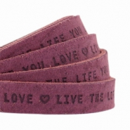 "Plat 10mm DQ leer met ""live the life you love"" print Light aubergine red"