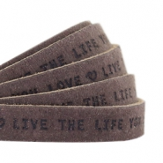 "Plat 10mm DQ leer met ""live the life you love"" print Dark vintage brown"