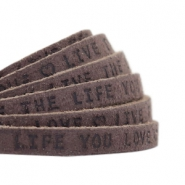 "Plat 5mm DQ leer met ""live the life you love"" print Dark vintage brown"