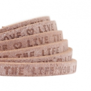 "Plat 5mm DQ leer met ""live the life you love"" print Smoke cognac brown"