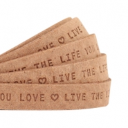 "Plat 10mm DQ leer met ""live the life you love"" print Light cognac brown"