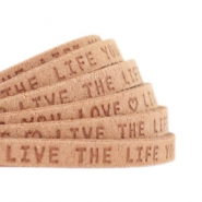"Plat 5mm DQ leer met ""live the life you love"" print Light cognac brown"