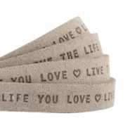 "Plat 10mm DQ leer met ""live the life you love"" print Vintage brown"