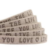 "Plat 5mm DQ leer met ""live the life you love"" print Vintage brown"