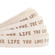 "Plat 10mm DQ leer met ""live the life you love"" print Country Grey"
