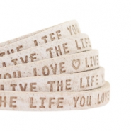 "Plat 5mm DQ leer met ""live the life you love"" print Country Grey"