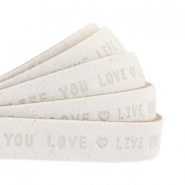 "Plat 10mm DQ leer met ""live the life you love"" print Off White"
