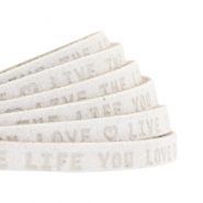 "Plat 5mm DQ leer met ""live the life you love"" print Off White"
