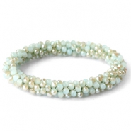 Top facet armbandjes velvet mint green-half gold diamond coating