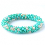 Top facet armbandjes Turquoise green-white (opal/diamond)