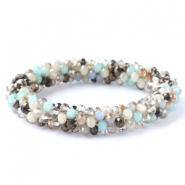 Top facet armbandjes Light blue-greige mixed colours (metallic/opal/diamond)