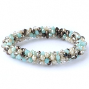 Top facet armbandjes Light turquoise-grey mixed colours (metallic/opal/diamond)