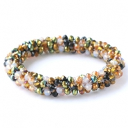 Top facet armbandjes Green-white-copper mixed colours (metallic/opal/diamond)