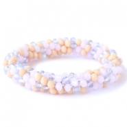 Top facet armbandjes Rose alabaster-lavender-beige mixed colours (opaque/opal/diamond)