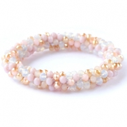 Top facet armbandjes White-rose alabaster (opal/diamond)