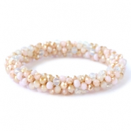 Top facet armbandjes Rose alabaster-beige (opal/diamond)