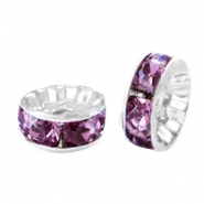 Strass kralen rondellen 6mm Silver-light aubergine purple