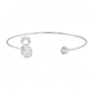 Armbanden pineapple + diamond Zilver