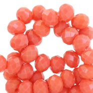 Top Facet kralen 6x4 mm disc Coral orange