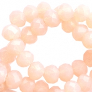 Top Facet kralen 4x3 mm disc Pale peach opal