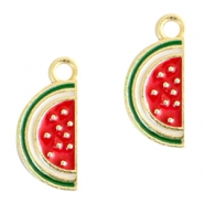 Basic quality metalen bedels watermelon Gold red-green