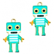 Basic quality metalen bedels robot Gold turquoise