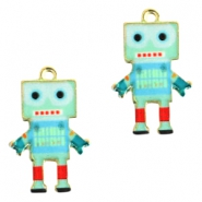 Basic quality metalen bedels robot Gold light turquoise