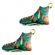 Basic quality metalen bedels sneaker Gold turquoise multicolour