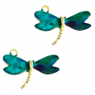 Basic quality metalen bedels libelle Gold  turquoise