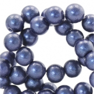 8 mm glaskralen pearl glitter Dark denim blue