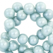 8 mm glaskralen pearl glitter Light haze blue