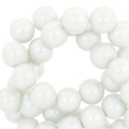 8 mm glaskralen pearl glitter Light grey