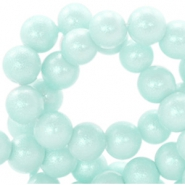 8 mm glaskralen pearl glitter Pastel mint blue