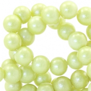 6 mm glaskralen pearl glitter Tender yellow green