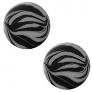 12 mm platte cabochon Polaris Elements zebra Silver night