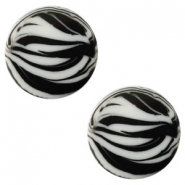 12 mm platte cabochon Polaris Elements zebra Ice grey