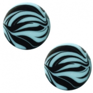 12 mm platte cabochon Polaris Elements zebra Soft lagoon blue