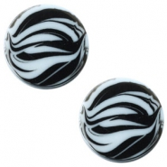 12 mm platte cabochon Polaris Elements zebra Powder blue
