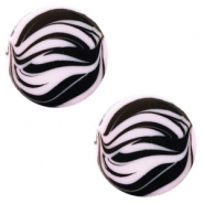 12 mm platte cabochon Polaris Elements zebra Lilac purple